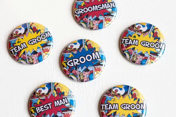 Super Hero, Wedding Boutonnière, Comic Book, Bachelor Party Pin, Superhero Groom, Geeky Wedding Button, Stag Night Badges, Groomsman