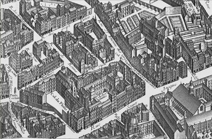 Plan de Turgot montrant l'église des Jacobins s'ouvrant sur la rue Saint-Jacques, en face du débouché de la rue Saint-Etienne-des-Grès (actuelle rue Cujas). Au 1er plan, le dôme de la Sorbonne.