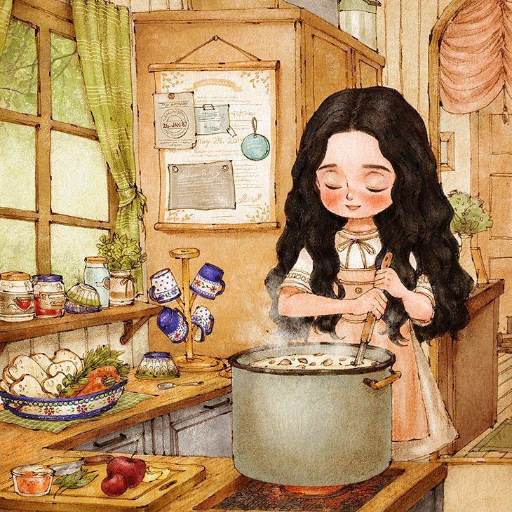 버섯스프를 만들어요 (Making mushroom soup)  직접 딴 버섯으로 만드는 스프는 무척 맛있을 것 같아요. I made mushroom soup made with the mushrooms I collected, but alas I can't get any better.  #illust #illustration #girl #cooking #cookingtime #mushroomsoup #kitchen #aeppol #drawing #sketch #happy #일러스트레이션 #일러스트 #소녀 #요리 #버섯스프 #요리시간 #애뽈 #부엌