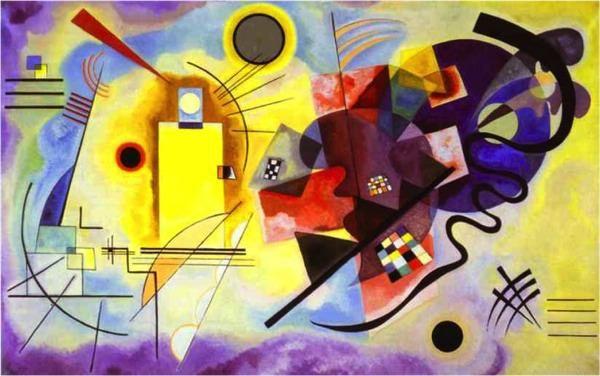 Reproduction de Kandinsky, Jaune, rouge, bleu. Tableau peint à la main dans nos ateliers. Peinture à l'huile sur toile.