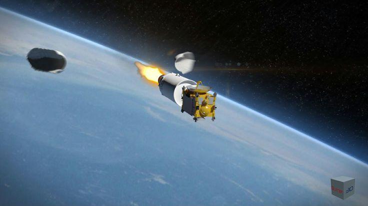 Asteroid mining probe leaving earth