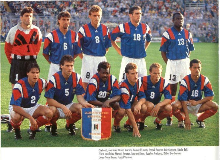 1992 France, Top, left to right: Bruno Martini, Bernard Casoni, Frank Sauzee, Eric Cantona, Basile Boli , Bottom, left to right: Manuel Amoros, Laurent Blanc, Jocelyn Angloma, Didier Deschamps, Jean-Pierre Papin, Pascal Vahirua