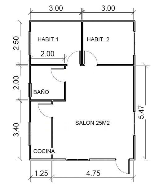 Plano 1 de casa tarrega de 63 m2 con buhardilla casa de - Planos de cabanas de madera ...