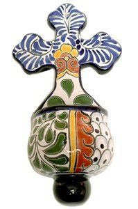 """Talavera Holy water font 5.75""""W x 10.5""""H by Tierra Fina. $23.95. Mexican Talavera. These beautifully handcrafted Hold Water Fonts will adorn any small area in your home.If selected pattern is out of stock the next available in stock pattern will be chosen at random and shipped."""