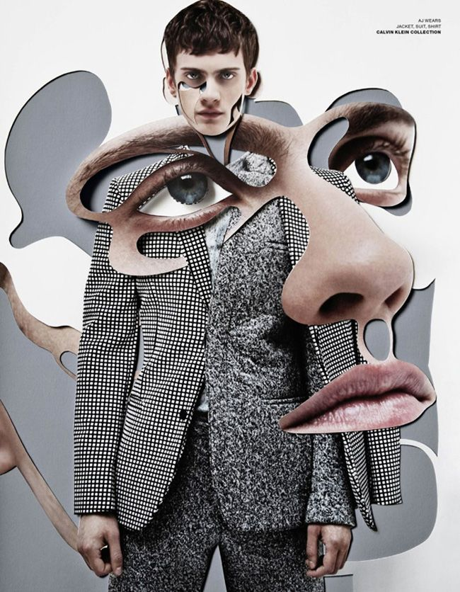 Dissected faces that are juxtaposed, meshed and become one with the garments worn, in a sort of cubist vision that not only deconstructs the visual elements, abstaining from direct representation, but also seems to invite us to behold the future of fashion with the eye of a curious bricoleur.  #fashion #men #crazyisgood