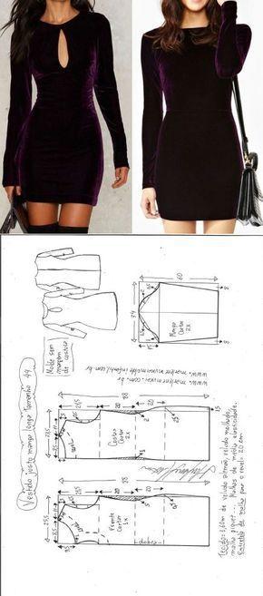 Vestido justo manga longa | DIY – molde, corte e costura – Marlene Mukai // Taik…