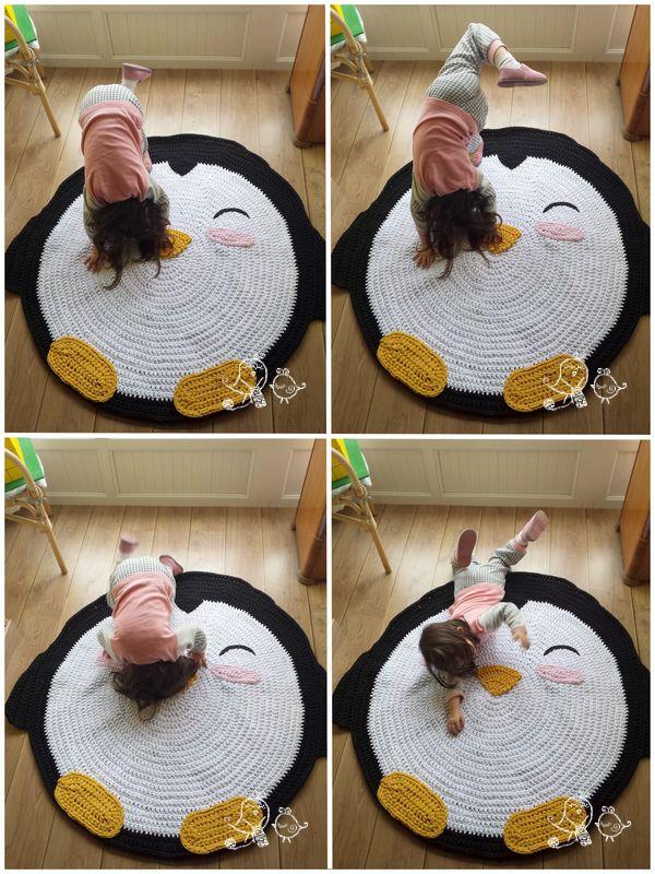xxl crochet penguin rug