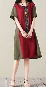 New-women-loose-fit-plus-size-dress-maxi-ethnic-flower-tunic-pocket-robe-fashion