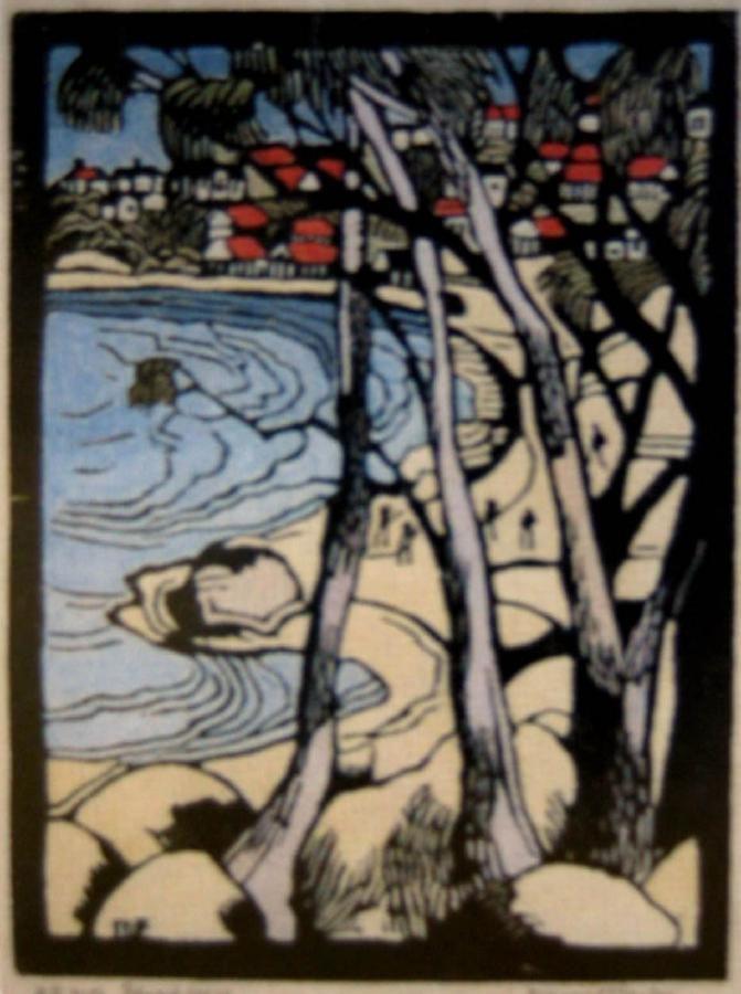 Margaret Preston   Woodblock  'Edward's Beach, Balmoral'