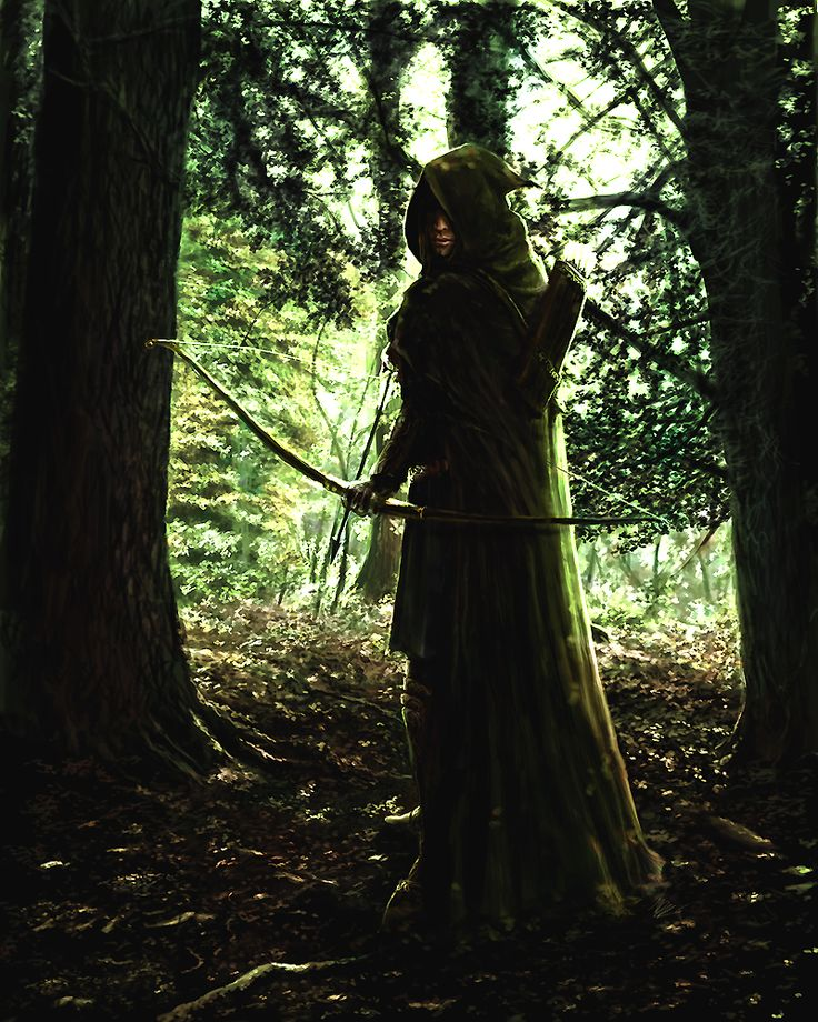 "My card for the Lord of the Rings the card game the Lost Realm expansion.""In a dark forest foreground, a ranger hides in the shadow of a tree. He is spying on a group of orcs. The orcs are sitting ..."