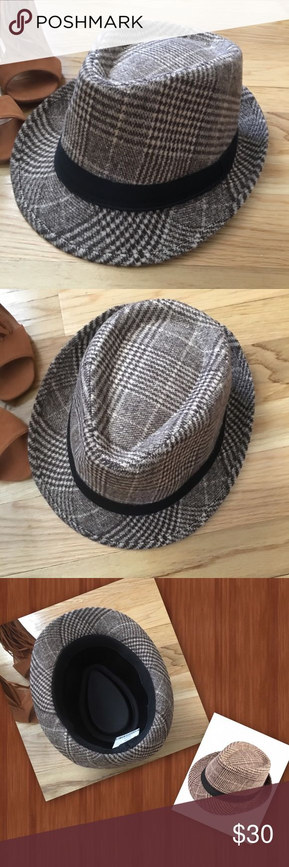 Funky Town Hats off, Hats on. Classy brown plaid Fedora. Wool with a black band. Dress up or casual with this choice trendsetter piece. It's perfect! Just add funky shoes as Kim Kardashian suggests and you're street style ready for funky town. Accessories Hats