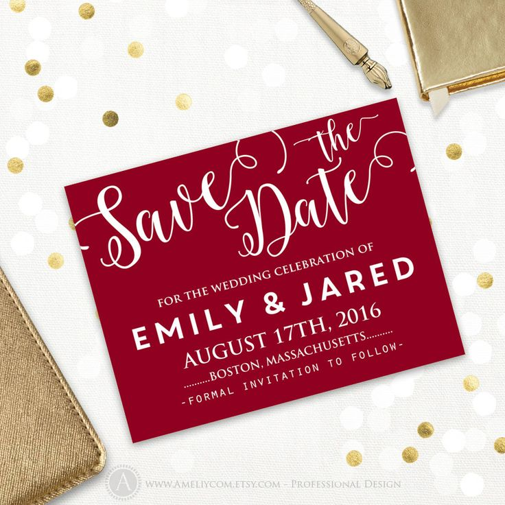 Printable Save the Date Card Wedding Save the Date Postcard Template ANY color Burgundy wine red dark maroon vinous claret INSTANT DownLoad