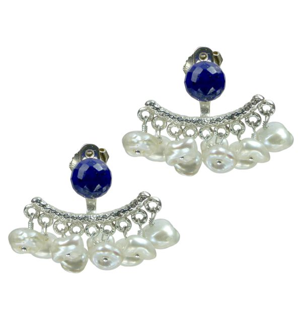 Mounir's earring jackets, the latest trend in earrings, will give an elegant edge to your look. This pair of stud earrings comes in sterling silver and has a cluster of white keshi pearls and Lapis top. The top stone is availble in other colours as well, retailing at £86. The back of the earring is adjustable. http://www.mounir.co.uk/index.php?route=product/product&path=60_113&product_id=1987&limit=100 #earringjackets #backtofront #earrings #mounir #jewellery #lapislazuli #keshipearls