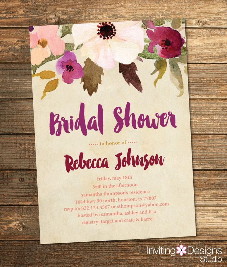 recipe themed bridal shower invitation wording%0A Bridal Shower Invitation  Watercolor  Floral  Fall  Purple  Plum  Wine