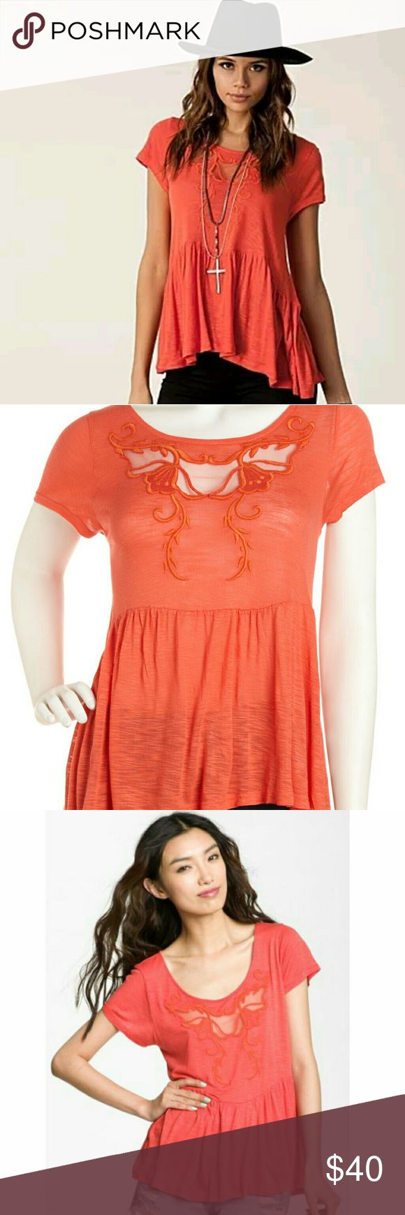 Free People Sweet Pepper XS Cutout Top Size XS Brand New From OFF5TH SAKS FIFTH AVENUE OUTLET  Slub knit with embroidery and mesh insets.Scoop neckline.Cap sleeves.Boxy silhouette.Wide ruffled hem.Pullover style.Viscose; hand wash cold.Imported. Free People Tops Blouses