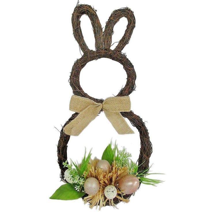 EASTER BUNNY RABBIT SHAPED DOOR WREATH~EGGS~BOW~SPRING DECORATION~NEW~SHIPS FREE | Home & Garden, Holiday & Seasonal Décor, Easter & Spring | eBay!