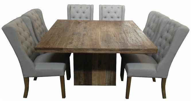 Square Rustic Recycled Elm Wood Dining Table 140x140x 76cm High Square Dinin