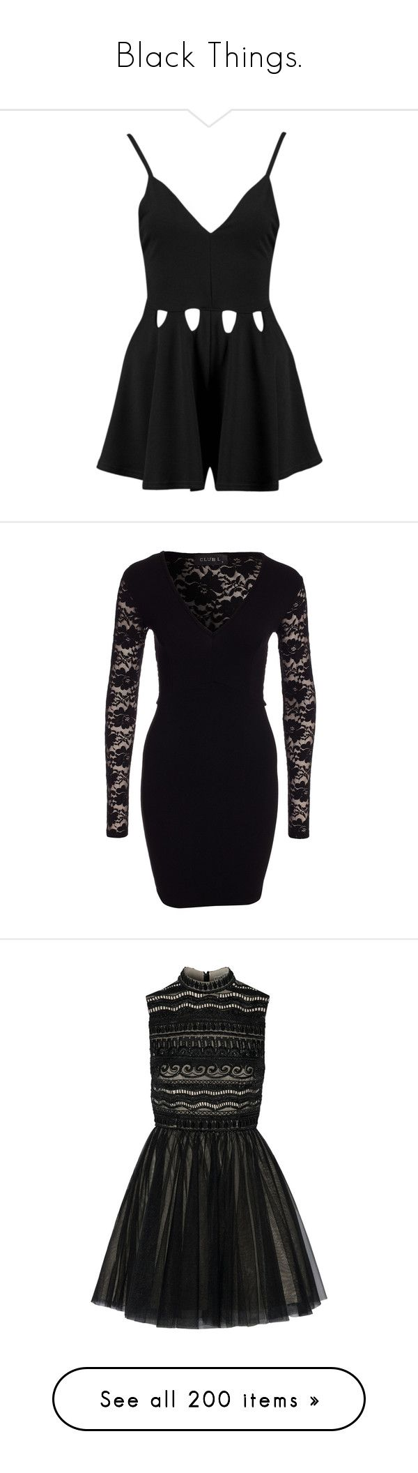 """""""Black Things."""" by alyssaclifford124 ❤ liked on Polyvore featuring jumpsuits, rompers, dresses, playsuits, jumpers, special occasion jumpsuits, holiday jumpsuits, boohoo jumpsuits, cocktail jumpsuit and playsuit jumpsuit"""