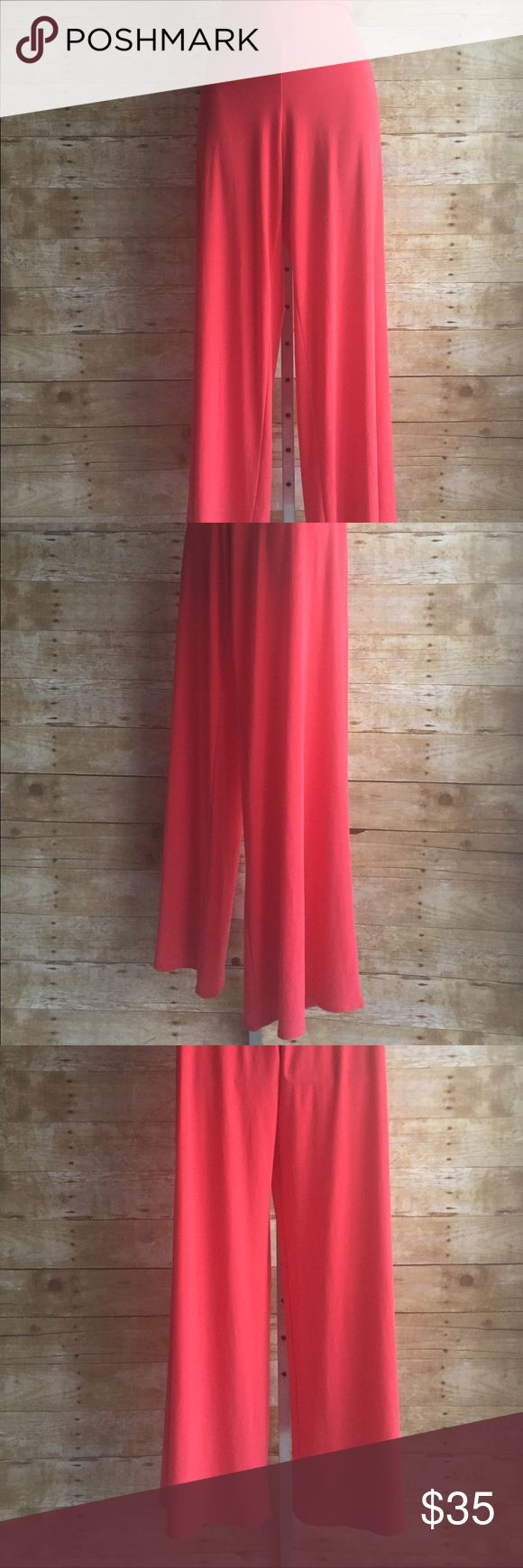 Clara Sun Woo Palazzo Pull On Pants Wide Leg Small Gorgeous pull on comfy jersey/spandex pants by Clara Sun Woo in Small; coral color clara sun woo Pants Wide Leg