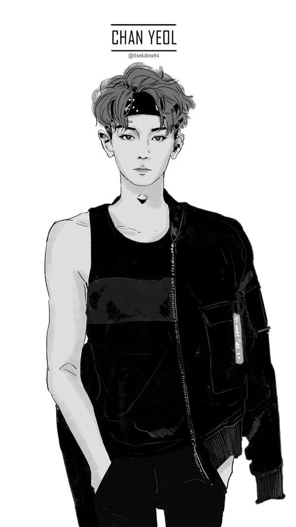 Chanyeol Fanart this fan art is like...... omg chanyeol look so good lol