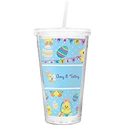Happy Easter Double Wall Tumbler with Straw (Personalized)