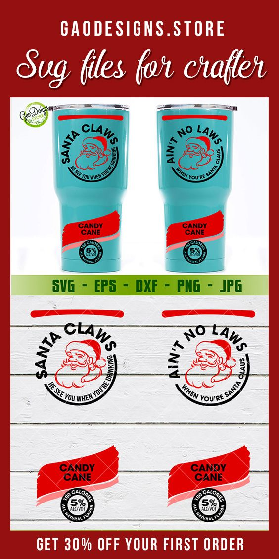 Santa Claws He Sees You When You're Drinking Christmas SVG