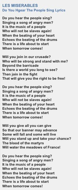 empty chairs and empty tables lyrics les miserables. do you hear the people sing lyrics · les miserables empty chairs and tables y