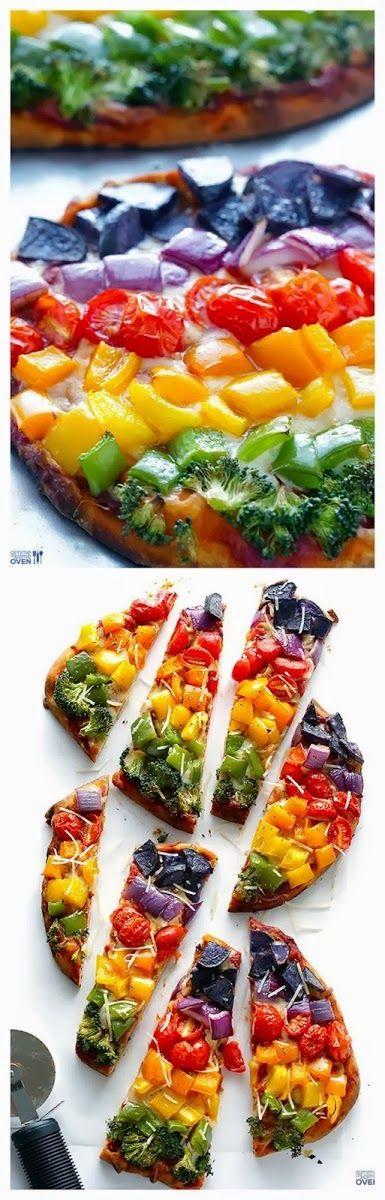 How To Make Rainbow Veggie Flatbread Pizza