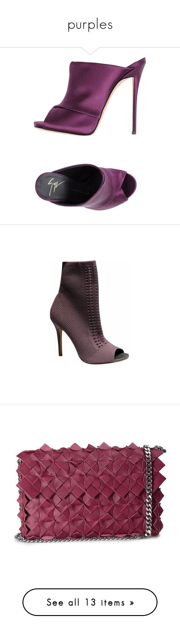"""""""purples"""" by jeniferkcarsrud ❤ liked on Polyvore featuring shoes, sandals, purple, purple sandals, giuseppe zanotti, giuseppe zanotti shoes, animal shoes, leather sole sandals, boots and ankle booties"""
