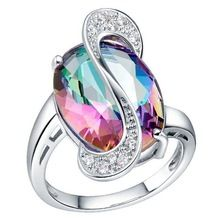 2014 NEW 925 Sterling Silver white gold plated Ring Engagement Love colors Zircon CRYSTAL Wedding WOMEN lady Rings hot(China (Mainland))