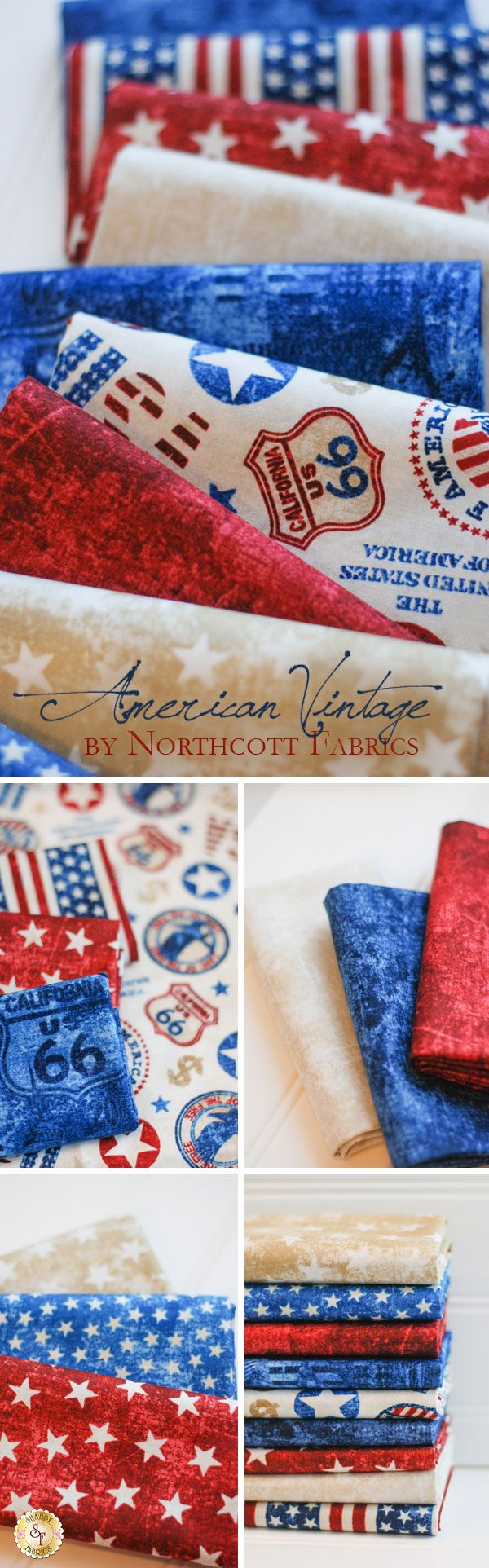 American Vintage - Northcott Fabrics Stitch a patriotic blanket or wall hanging with the American Vintage collection from Northcott Fabrics. With vintage and muted shades of red, white, and blue, this collection invokes classic Americana. Pair the print with USA stamps and emblems with a simple pattern of stars or a tonal piece with images of flags and road signs.
