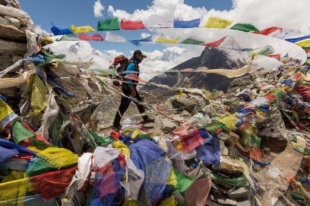 LOS SHERPAS En la caminata al Monte Everest, Mingma Öngel Sherpa pasa por las banderas de oración en un memorial para los sherpas que murieron en el pico.  Desde las primeras expediciones en la década de 1920, 99 sherpas nepalíes y otros han muerto en el Everest - alrededor del 40 por ciento de todas las muertes que suben allí.  (Foto de Aaron Huey / National Geographic)