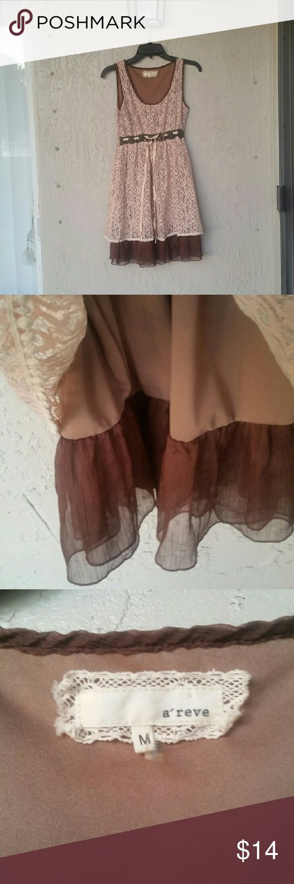 Pink Lace Babydoll Dress Pink and brown lace dress with a adjustable bow waistline. In Perfect condition! Dresses