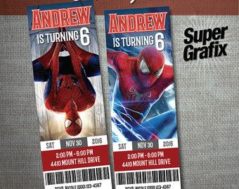 Spiderman Birthday Invitation Ticket 2 X 6. Spiderman Invitation.  Customizable. Spiderman Party Invitation