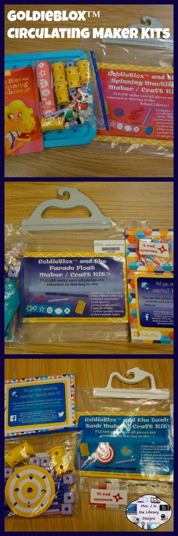 Makerspace Starter: GoldieBlox (TM) Circulating Kit Materials - Inspire creativity and problem-solving skills by converting retail GoldieBlox (TM) book plus construction sets into circulating craft / maker kits in your school library or classroom! $