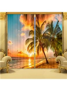 Coconut Tree in Sunset Print 3D Blackout Curtain