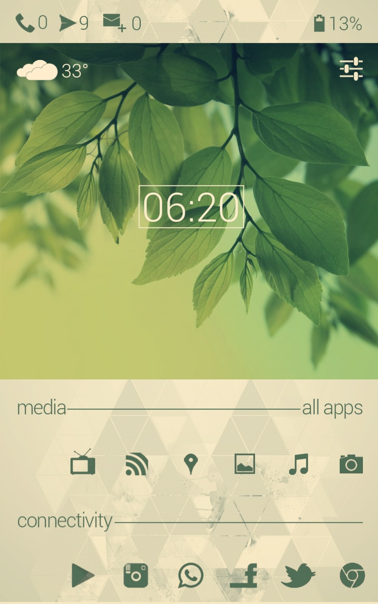 Greenimal. Android. Homescreen. UCCW. Minimal. Simple. White & Green. Nature. Basic. Beautiful.