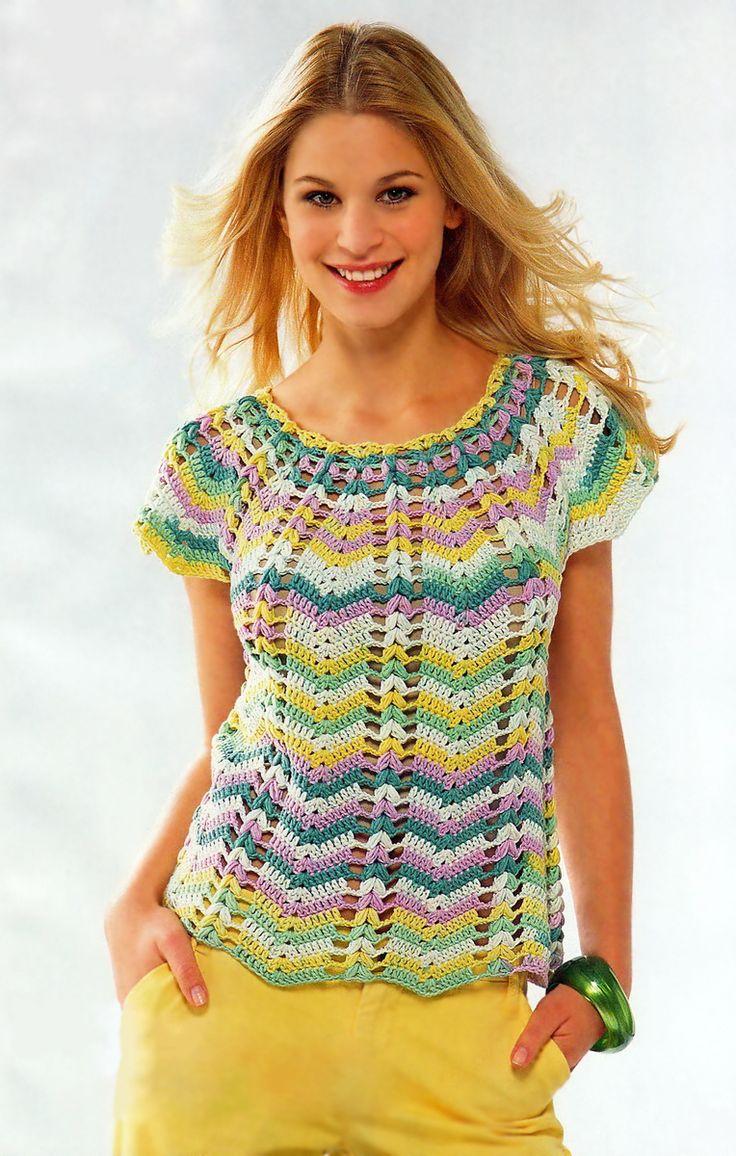 Топ в разноцветную полоску - Вязание Крючком. Блог Настика. Схемы, узоры, уроки бесплатно