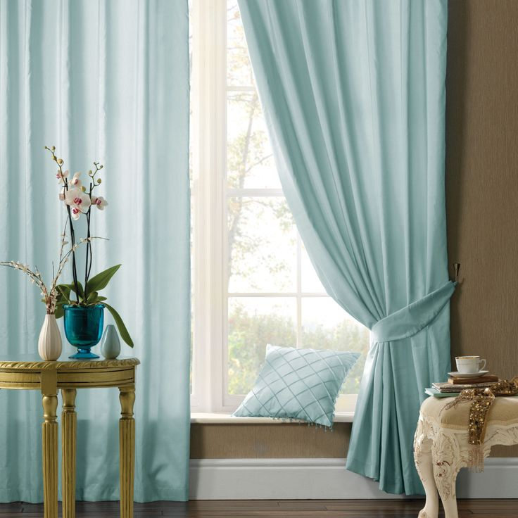 Catherine Lansfield Plain Faux Silk Curtains in