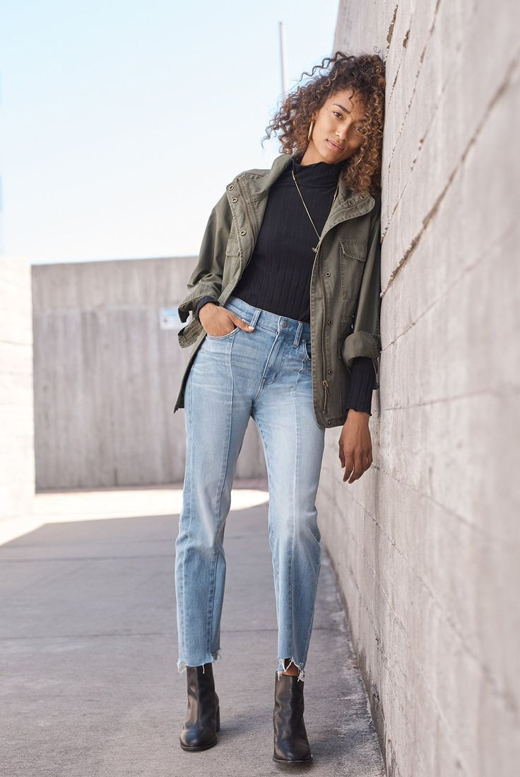 madewell cruiser straight jeans worn with surplus jacket, pauline boot + ribbed turtleneck top.