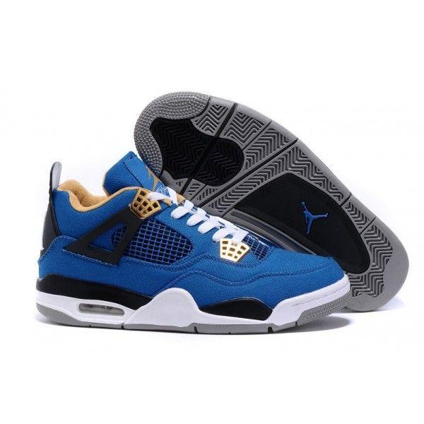 buy cheap mens air jordan 4 blue black white grey retro basketball shoes for sale
