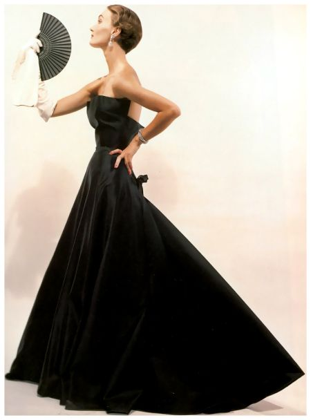 """Evelyn Tripp in Christian Dior's """"Sargent Dress"""", photo by Blumenfeld, American Vogue, New York, November 1,1949"""