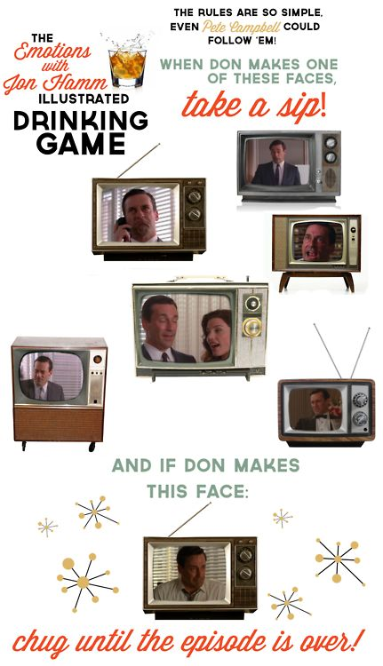 The Emotions With Jon Hamm illustrated drinking game