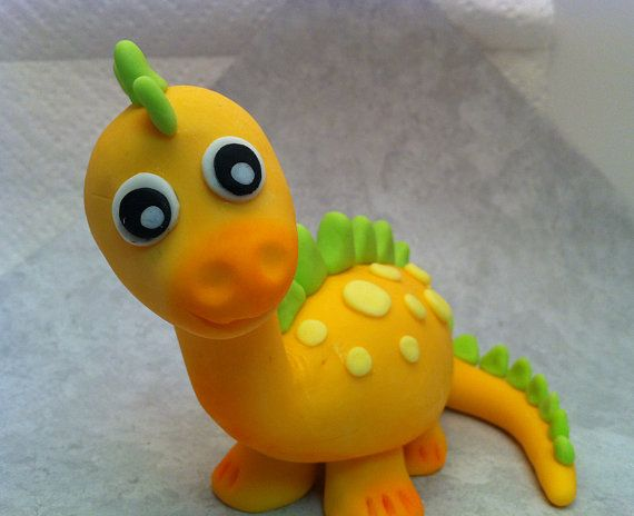 """Fondant Baby Dinosaur Cake or Cupcake topper - Decorations for your Prehistoric party $55 for 5"""" size"""