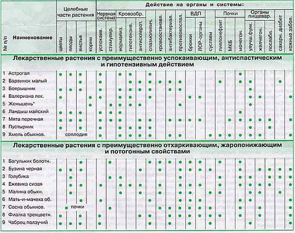 Лекарственные растения (лечение заболеваний)  Прекрасные таблицы для подбора лекарственных растений для лечения различных заболеваний