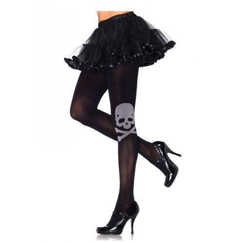 Panty met Doodshoofd print - Zwart
