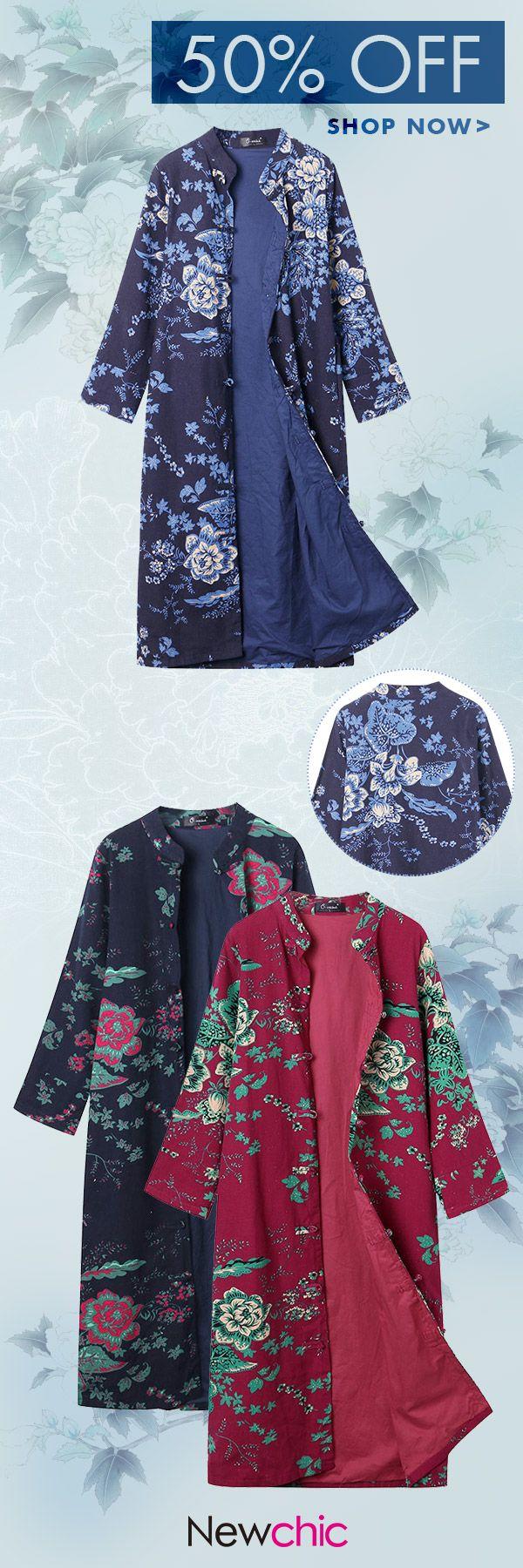 O-NEWE Vintage Women Flower Printed Chinese Frog Long Coat #coat #spring #fashion