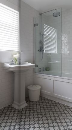 Patterned Tile Floor, Shower/tub Combo With 1/2 Wall Of Glass,