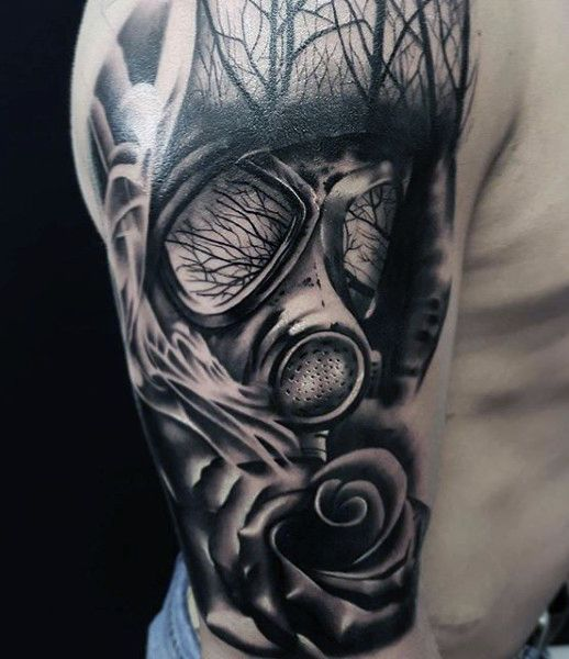 Forest Mens Gas Mask Tattoo On Upper Arm