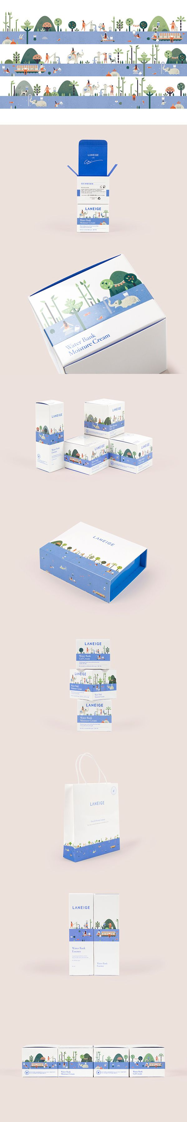 创意个性的扁平化清新卡通包装设计作品 Laneige cosmetics with cute illustrations on the packaging PD